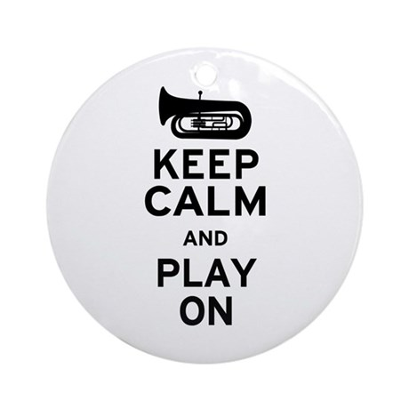 Keep Calm Tuba Ornament (Round)