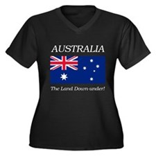 Australian Flag Women's Plus Size V-Neck Dark T-Sh