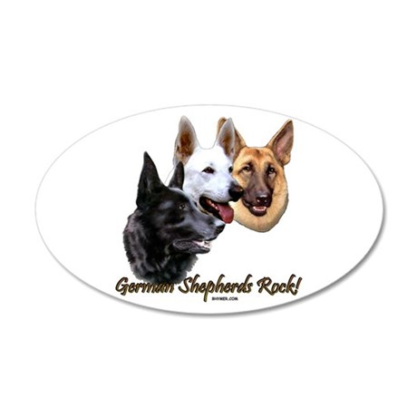 German Shepherds Rock 38.5 x 24.5 Oval Wall Peel