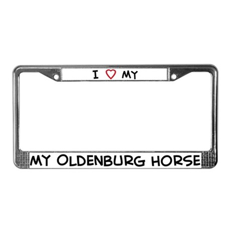 I Love Oldenburg Horse License Plate Frame