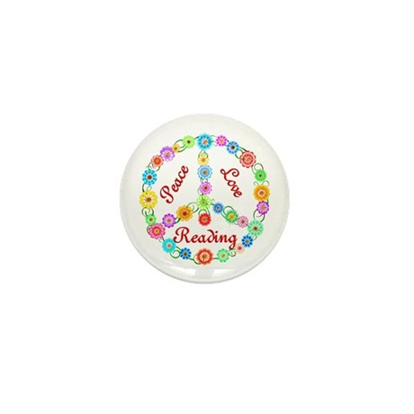 Peace Love Reading Mini Button (100 pack)