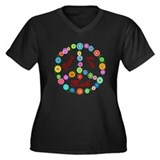 Peace Love Math Women's Plus Size V-Neck Dark T-Sh