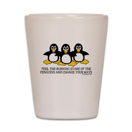 Burning Stare Penguins Shot Glass