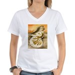 Yellow Splash English Trumpet Women's V-Neck T-Shi