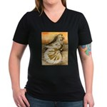 Yellow Splash English Trumpet Women's V-Neck Dark