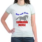 Ride With Pride Canadian Horse Jr. Ringer T-Shirt