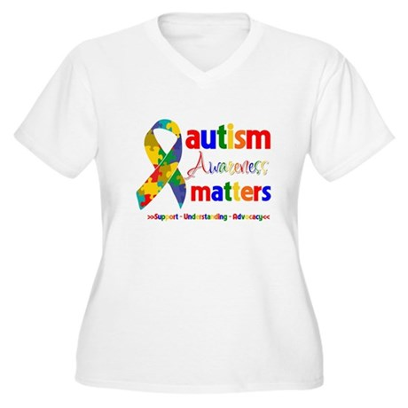 Autism Awareness Matters Women's Plus Size V-Neck