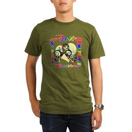 Autism Awareness Ribbon Organic Men's T-Shirt (dar