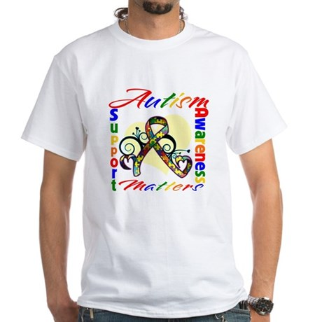 Autism Awareness Ribbon White T-Shirt