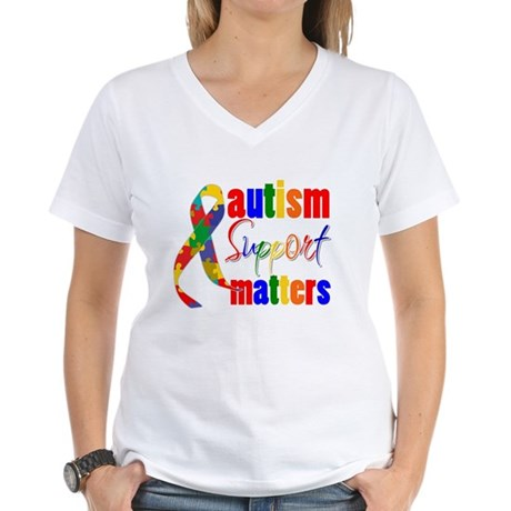 Autism Support Matters Women's V-Neck T-Shirt