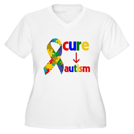 Cure Autism Women's Plus Size V-Neck T-Shirt