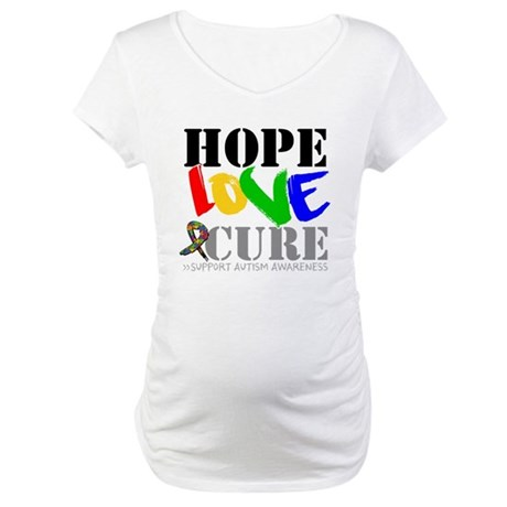 Hope Love Cure Autism Maternity T-Shirt