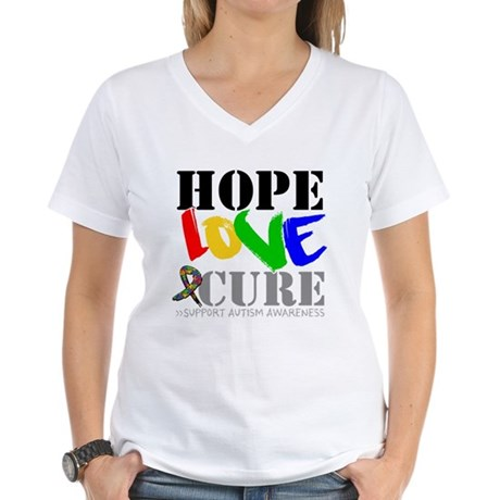 Hope Love Cure Autism Women's V-Neck T-Shirt