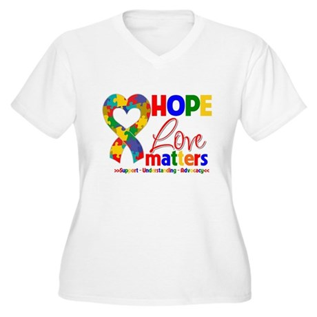 Hope Love Matters Autism Women's Plus Size V-Neck