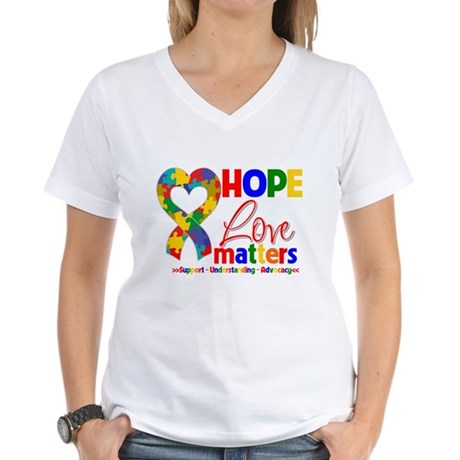 Hope Love Matters Autism Women's V-Neck T-Shirt
