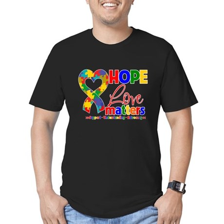 Hope Love Matters Autism Men's Fitted T-Shirt (dar
