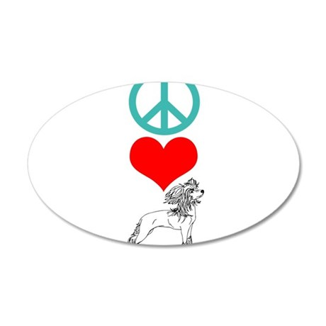 Peace Love Chinese Crested 22x14 Oval Wall Peel
