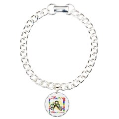Autism Awareness Ribbon Charm Bracelet, One Charm