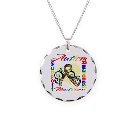 Autism Awareness Ribbon Necklace Circle Charm