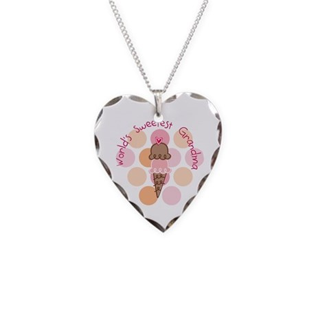 World's Sweetest Grandma Necklace Heart Charm