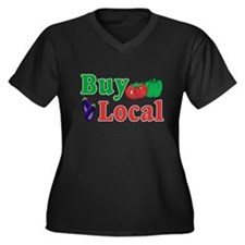 Buy Local Women's Plus Size V-Neck Dark T-Shirt