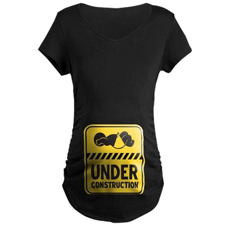 Yellow Baby Construction Maternity Dark T-Shirt