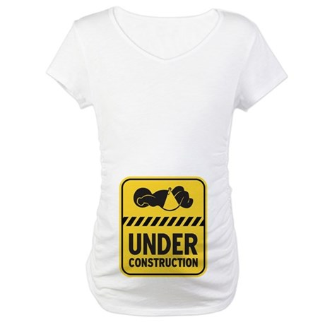 Yellow Baby Construction Maternity T-Shirt