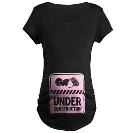 Pink Baby Construction Maternity Dark T-Shirt