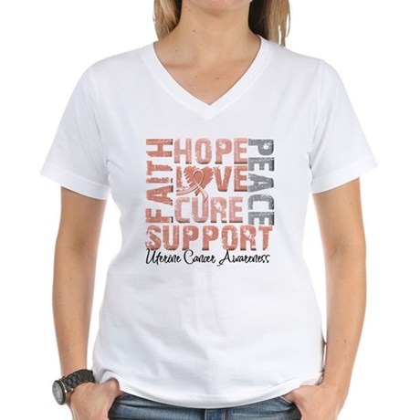 Hope Uterine Cancer Women's V-Neck T-Shirt
