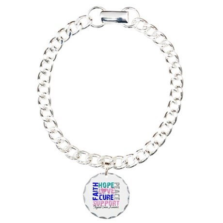 Hope Thyroid Cancer Charm Bracelet, One Charm