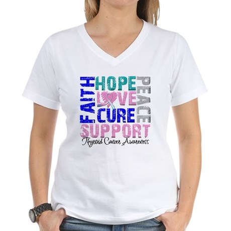 Hope Thyroid Cancer Women's V-Neck T-Shirt