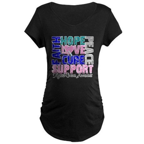 Hope Thyroid Cancer Maternity Dark T-Shirt