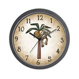 Monkey in Banana Tree Wall Clock