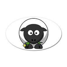 Cartoon Sheep 22x14 Oval Wall Peel