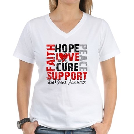 Hope Skin Cancer Women's V-Neck T-Shirt