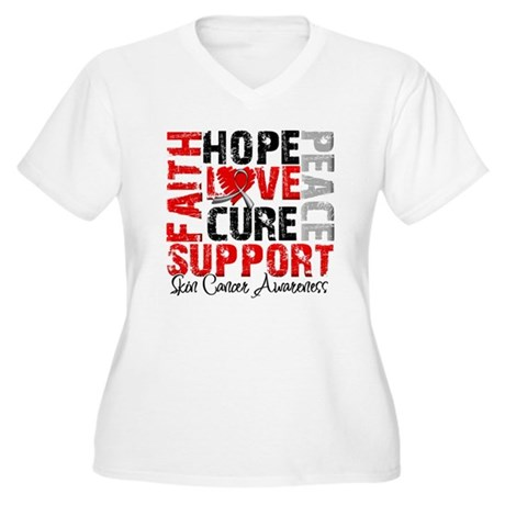 Hope Skin Cancer Women's Plus Size V-Neck T-Shirt