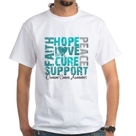 Hope Ovarian Cancer White T-Shirt