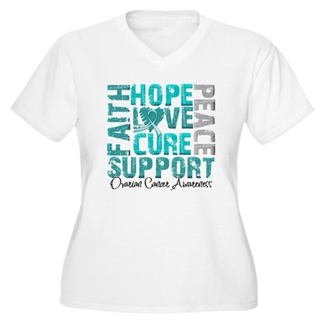 Hope Ovarian Cancer Women's Plus Size V-Neck T-Shi