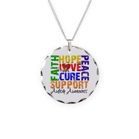 Hope Autism Necklace Circle Charm