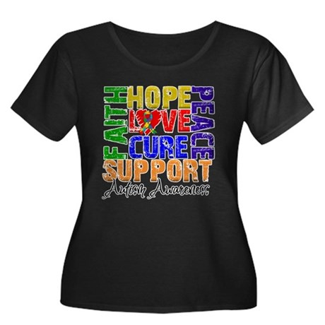 Hope Autism Women's Plus Size Scoop Neck Dark T-Sh