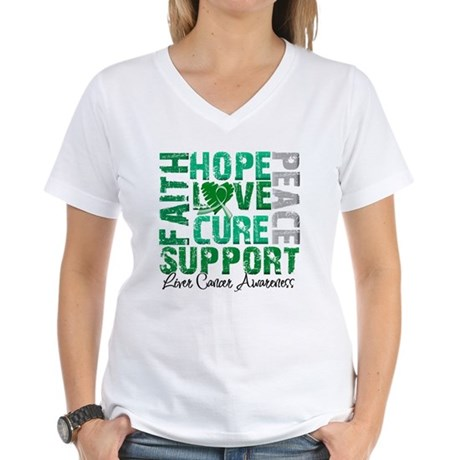Hope Liver Cancer Women's V-Neck T-Shirt