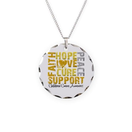 Hope Childhood Cancer Necklace Circle Charm