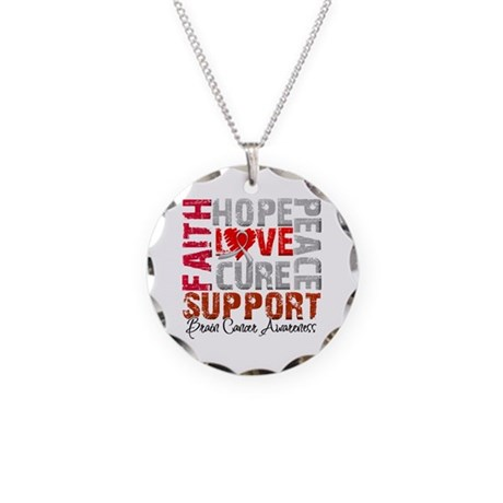 Hope Brain Cancer Necklace Circle Charm