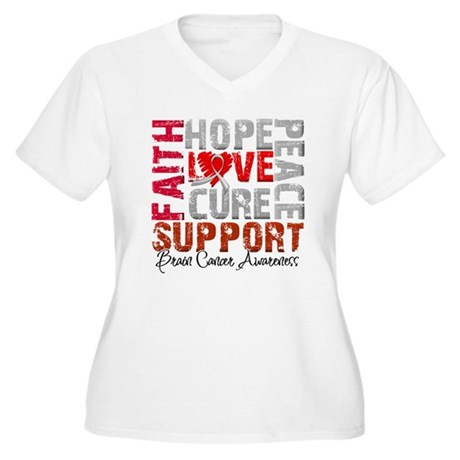 Hope Brain Cancer Women's Plus Size V-Neck T-Shirt