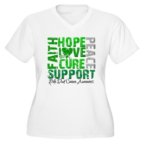 Hope Bile Duct Cancer Women's Plus Size V-Neck T-S