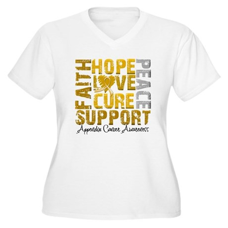 Hope Appendix Cancer Women's Plus Size V-Neck T-Sh