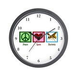 Peace Love Hornets Wall Clock