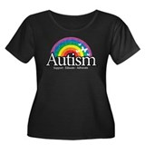 Autism Rainbow Women's Plus Size Scoop Neck Dark T