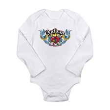 Autism Bird & Heart Long Sleeve Infant Bodysuit