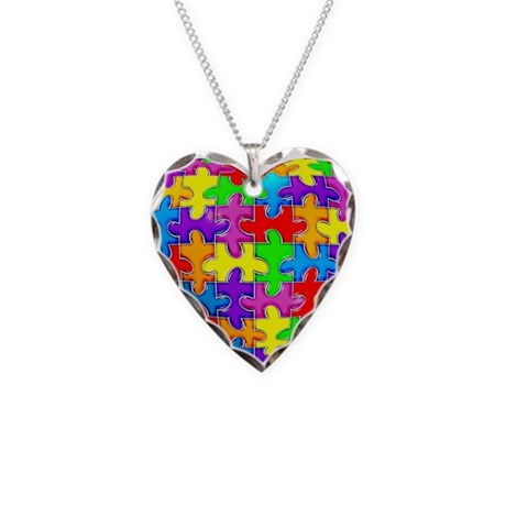 Jelly Puzzle Heart Necklace Heart Charm